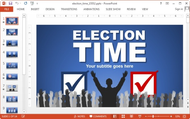 Animated election time PowerPoint template
