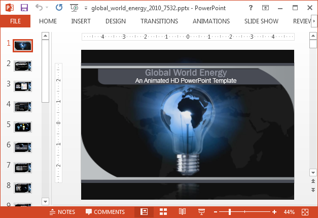 Animated energy PowerPoint template