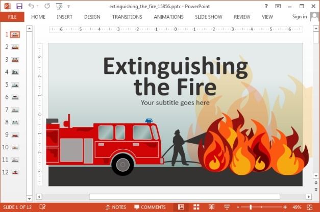 Animated extinguishing fire PowerPoint template