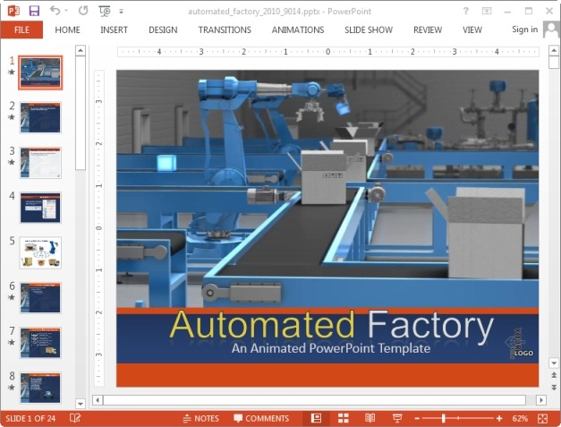 Animated factory powerpoint template