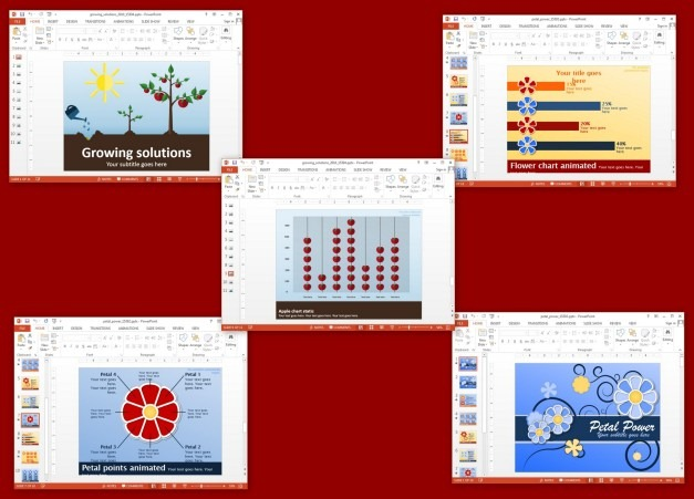 Animated flower templates for PowerPoint and Keynote