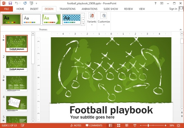 Animated football PowerPoint template