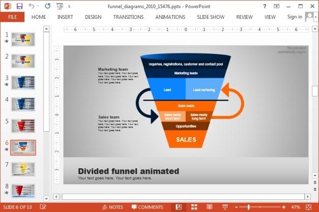 Animated funnel diagram slides