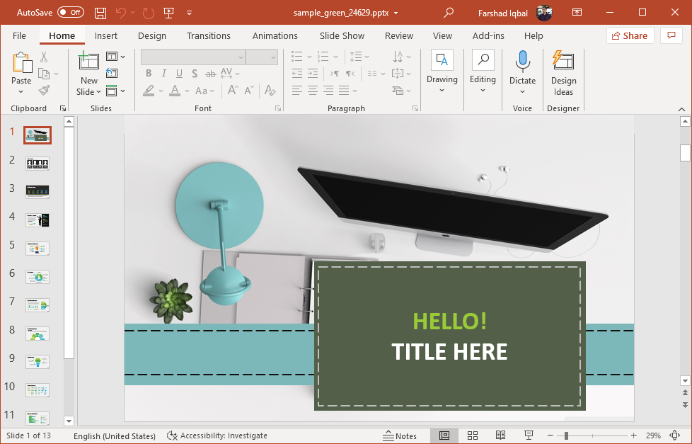 Animated green infographics PowerPoint template