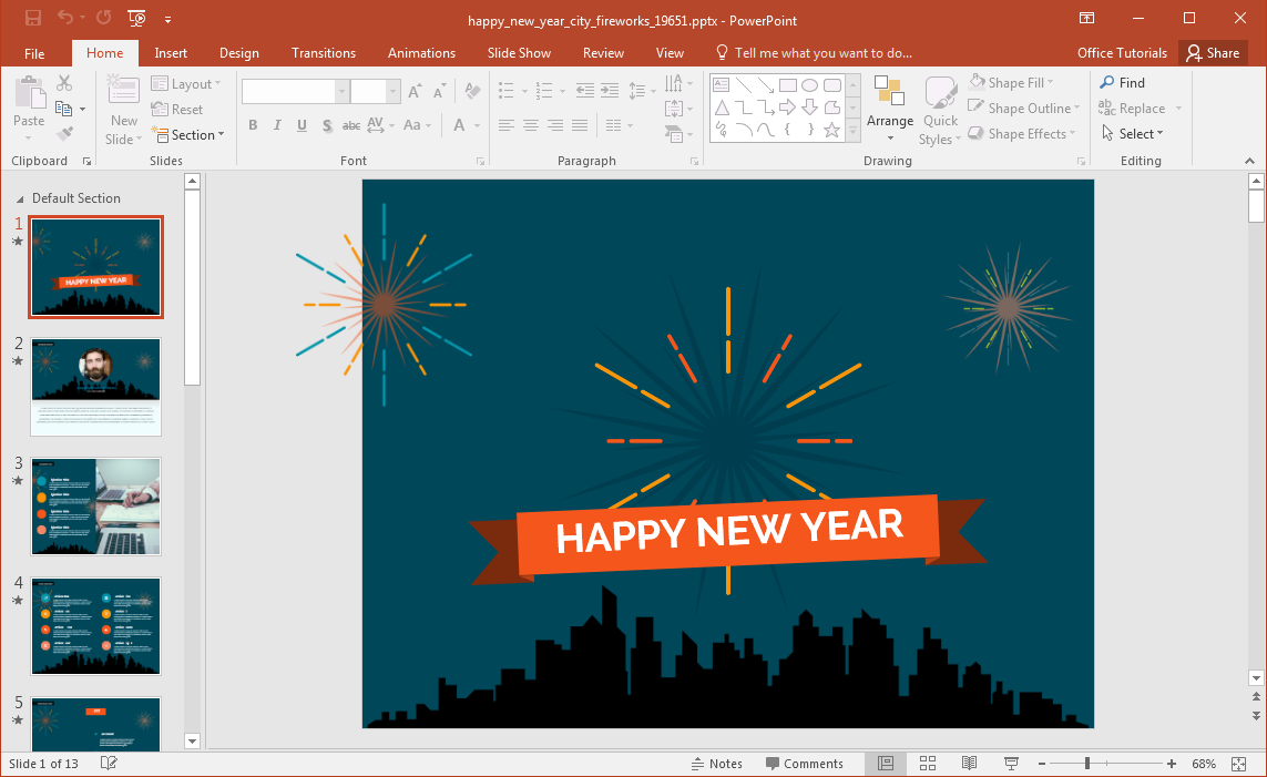 New Years Fireworks PowerPoint Template