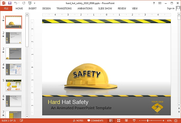 Animated hard hat PowerPoint template