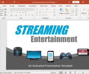 Animated media streaming PowerPoint template