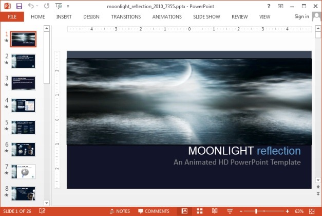 Animated moonlight PowerPoint template