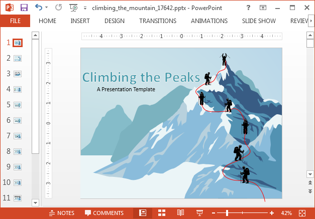 Animated mountaineer PowerPoint template