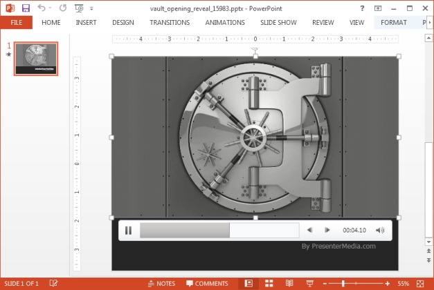 Animated opening vault Video background PowerPoint template