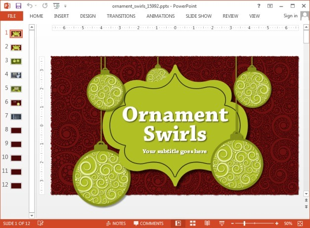 Animated ornament swirls template for PowerPoint