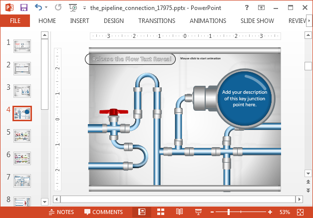 Animated pipeline illustrations for PowerPoint