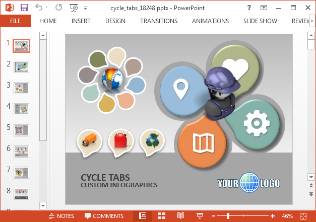 Animated process cycle PowerPoint template