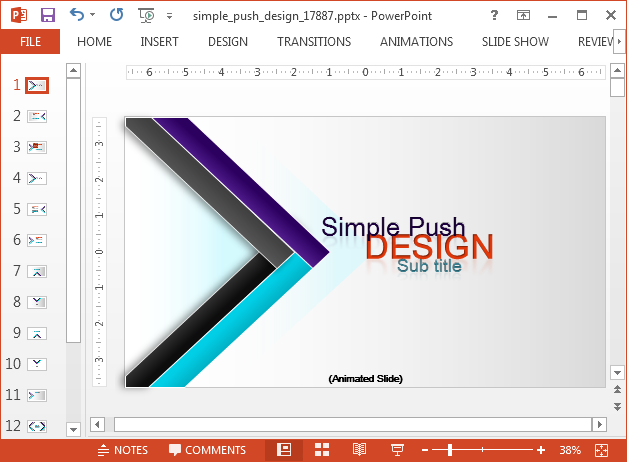 Animated push design PowerPoint template