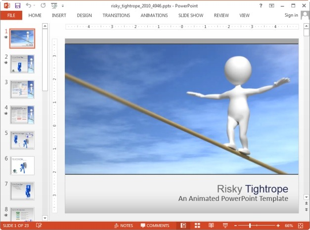 Animated risky tightrope template for PowerPoint