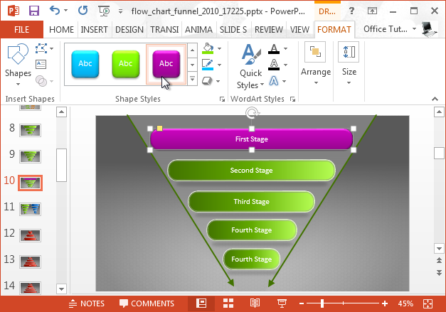 Animated sales funnel diagram
