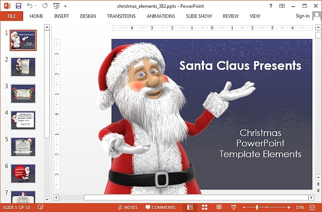 Animated santa claus PowerPoint template