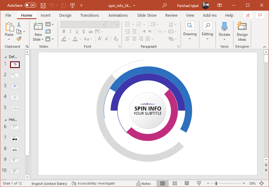 Animated spinning wheel PowerPoint template