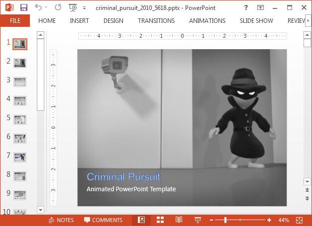 Animated spy PowerPoint template