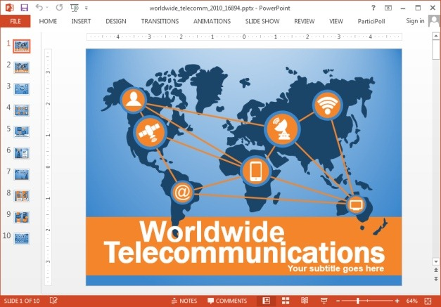 Animated telecom PowerPoint template