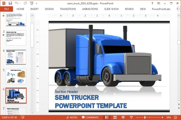 Animated truck PowerPoint template