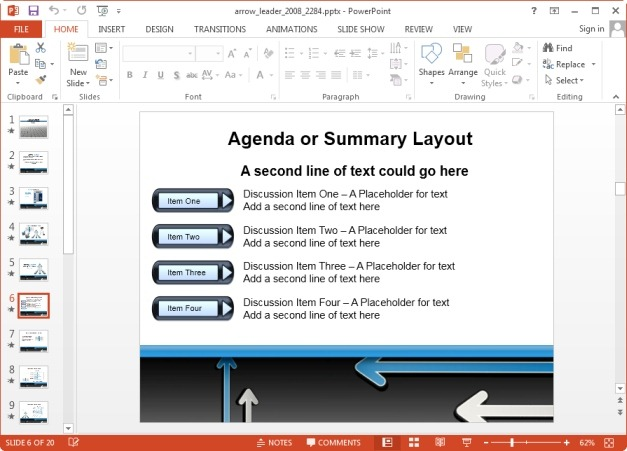 Arrow agenda summary SmartArt