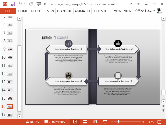 Arrow slide design for making infographics