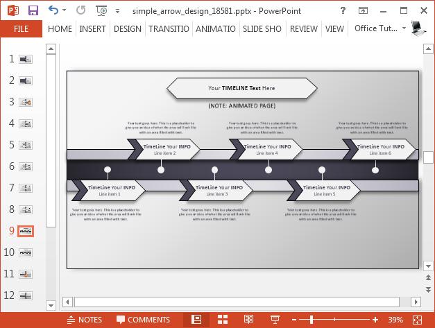 Arrow timeline slide design