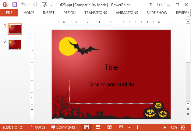 Bat and red sky PowerPoint template