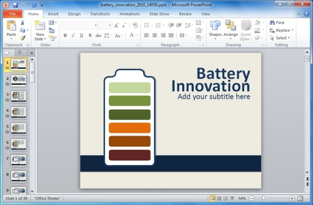 Battery Innovation PowerPoint Template