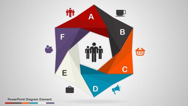 Bended origami hexagonal PowerPoint diagram