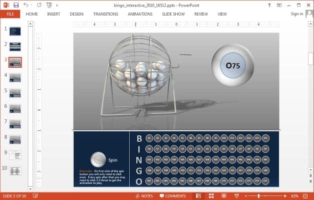 Bingo ball slide