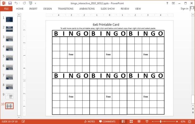 Bingo card slide