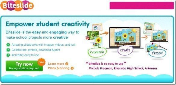 Biteslide, Create Digital slidebooks for student creativity, self-expression, and imagination