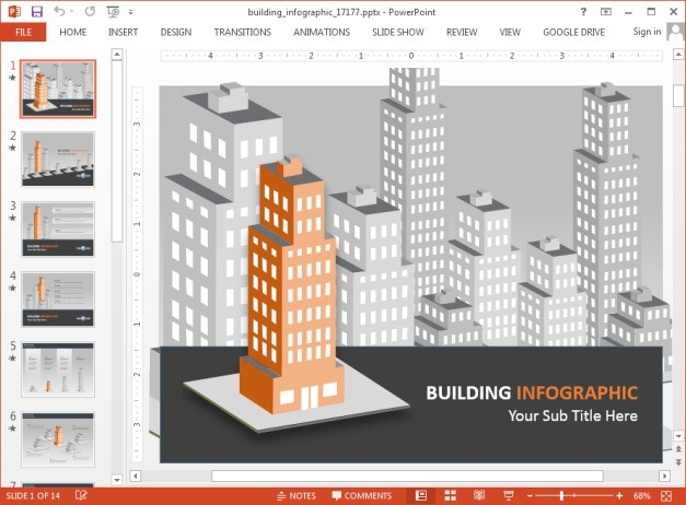 Buildings infographic template for PowerPoint