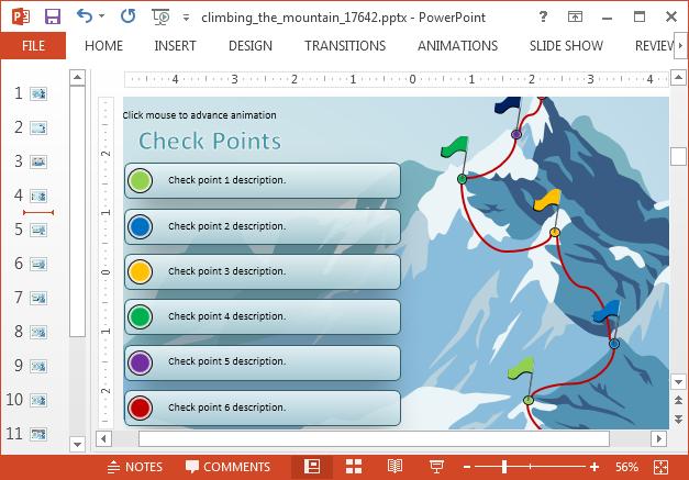 Bullet list with mountain peak illustration
