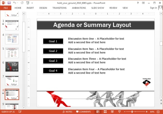 Bulleted list with tug of war image