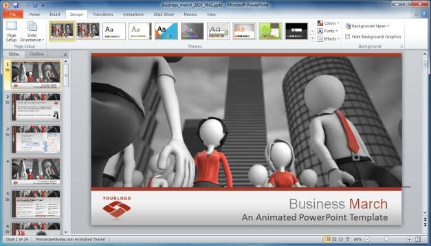 Business March PowerPoint Template