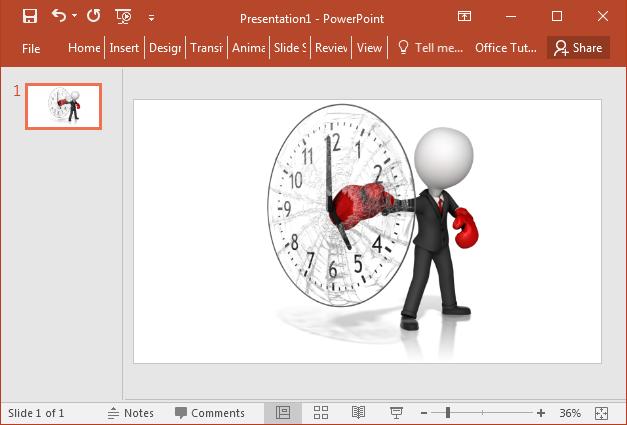 Businessman punching a clock