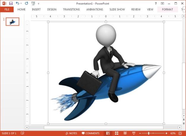 Businessman rides a rocket