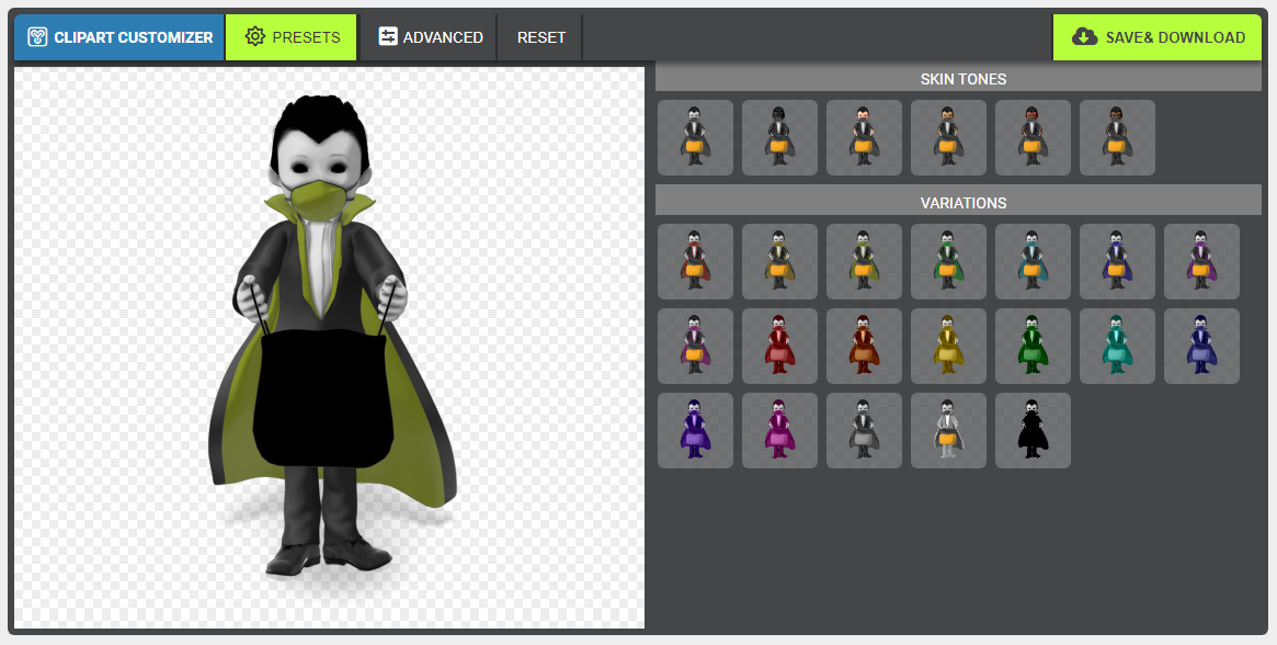 COIVD-19 vampire clipart with color options