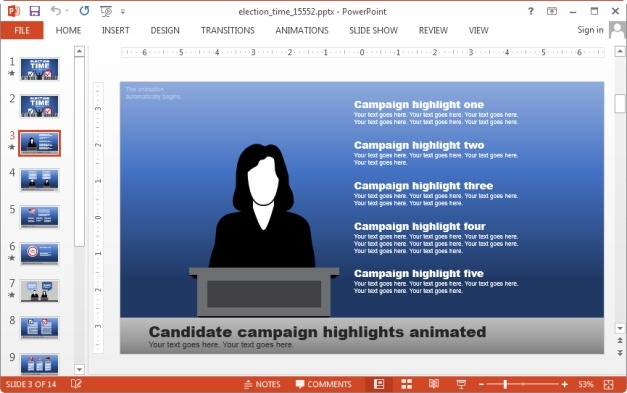 Candidate campaign slide