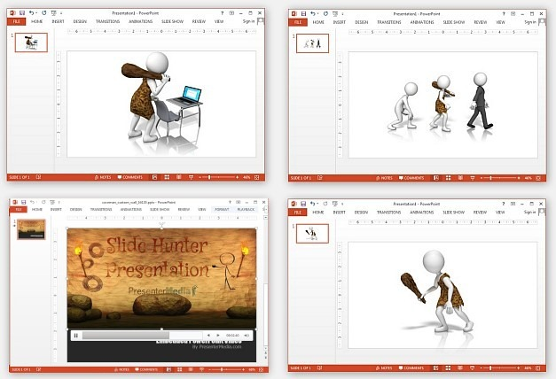 Caveman clipart and animations for PowerPoint