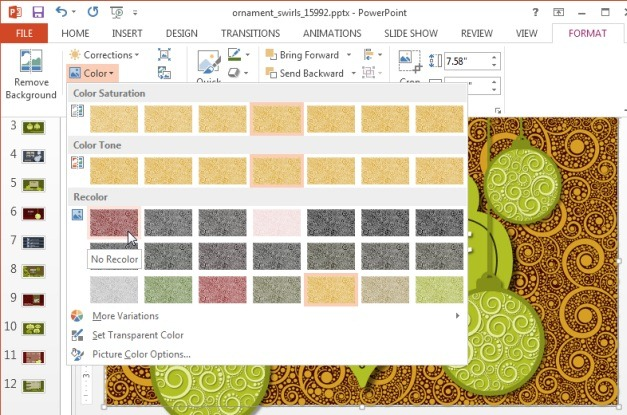 Change background color for animated slides