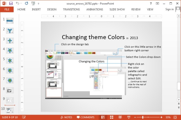 Changing theme colors for source arrows template