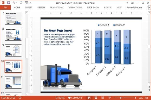 Chart slide with semi truck
