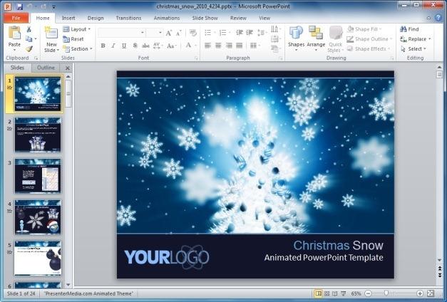 Christmas Snow PowerPoint Template