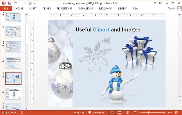 Christmas ornaments template for PowerPoint