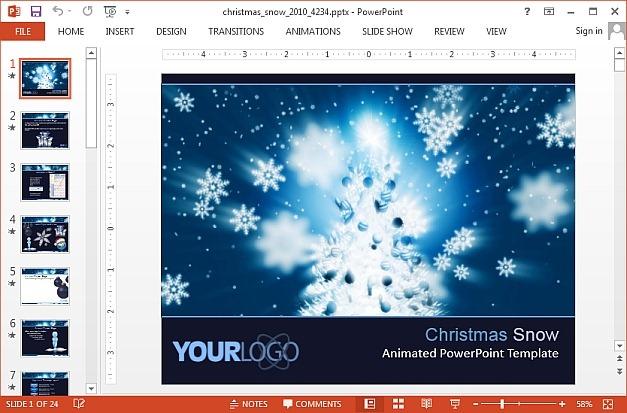 Christmas snow animated PowerPoint template