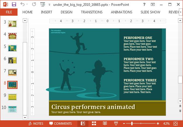 Circus characters slide design